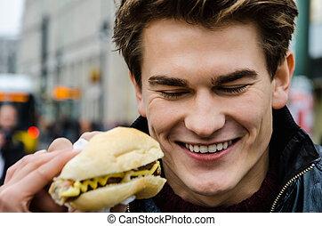 Happy Man With Hotdog