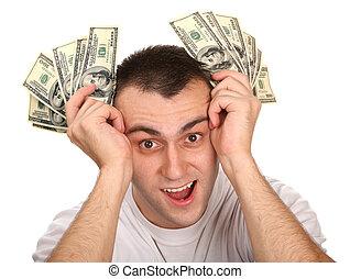 Happy man with money dollar.