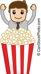 Happy Man with Popcorn Vector