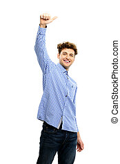 Happy man with raised hand on a white background