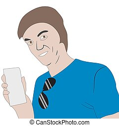 Happy man with ticket or paper blank