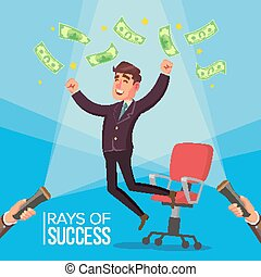 Happy Manager, Businessman Vector. Man Worker Getting A Lot Of Money And Jumping From An Office Chair. Flashlight And Hand. Flat Illustration