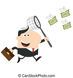 Happy Manager Chasing Flying Money With A Net. Flat Design ...