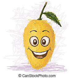happy mango - happy yellow mango cartoon character smiling.