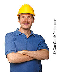 smiling and confident manual worker portrait isolated on white background