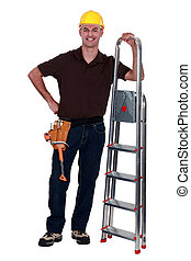 Happy manual worker stood with step ladder