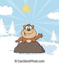 Marmot Cartoon Character Waving