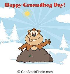 Happy Marmot Cartoon Character Waving In Groundhog Day