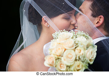 Happy Married Couple Kissing