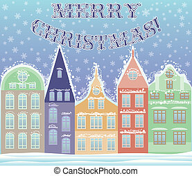Happy Marry Christmas winter city postcard, vector