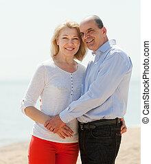 happy  mature couple against sea