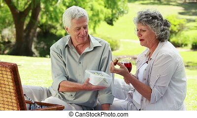 Happy mature couple eating a picnic on the grass in a park