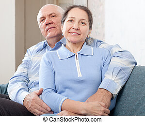 Happy  mature couple  in home