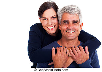happy mature couple on white background