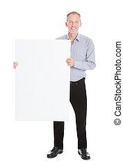 Man Holding Blank Placard