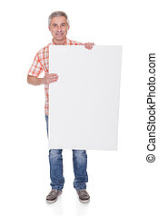Happy Mature Man Holding Blank Placard