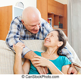 Happy mature man with beloved wife