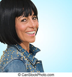 Happy Mature Woman In Casual