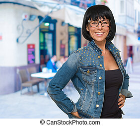 Happy Mature Woman Wearing Eye Glasses, outdoor