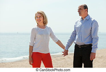 happy mature woman with elderly man together