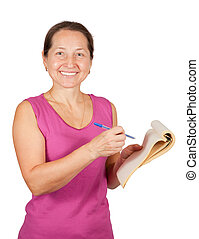 Happy mature woman with notebook