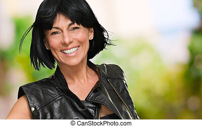 Happy Mature Woman With Short Hair