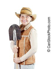 Happy mature  woman  with spade