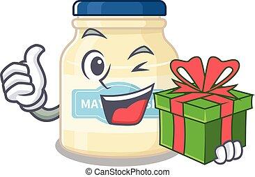Happy mayonnaise character having a gift box
