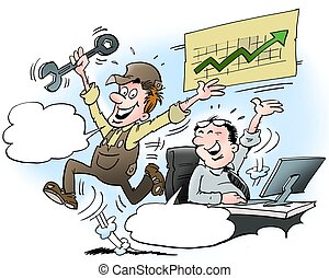 Happy Mechanic and business man - Cartoon illustration of a...