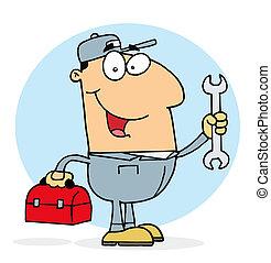 Happy Mechanic Guy - Happy Caucasian Mechanic Guy With A...