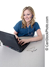 Happy medical secretary