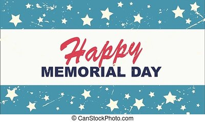 Happy Memorial Day, American holiday. Animated 4k resolution footage