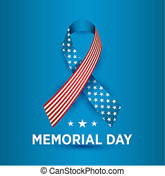 Happy Memorial Day card. National american holiday illustration with ribbon.