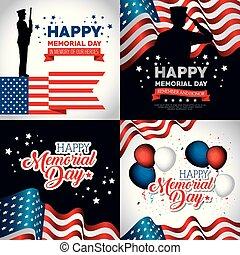 happy memorial day celebration set flyers