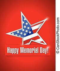 happy memorial day illustration design over a red background