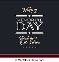 Happy Memorial Day typography military style vector