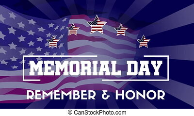 Happy Memorial Day With Flag Animation Background Collection