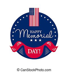 Happy Memorial National American Day card or background with with USA flag.