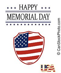 Happy Memory Day card. Illustration in honor of the national holiday of the United States with a shield in the style of the US flag. Festive postcard. illustration