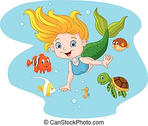 Happy mermaid with sea animal - Vector illustration of Happy...