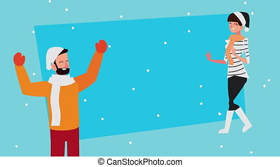happy merry christmas animation with couple