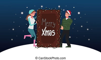 happy merry christmas animation with couple and label in snowscape