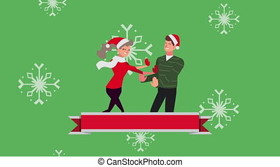 happy merry christmas animation with couple and snowflakes
