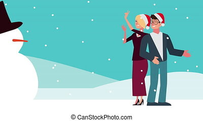 happy merry christmas animation with couple dancing and snowman in snowscape
