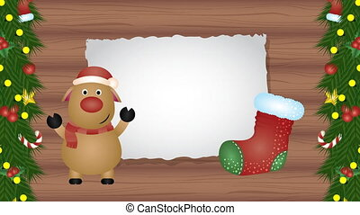 happy merry christmas animation with deer in wooden background