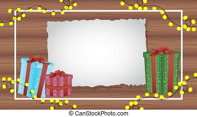 happy merry christmas animation with gifts in wooden background