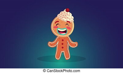 happy merry christmas animation with gingerman cookie ,4k video animated