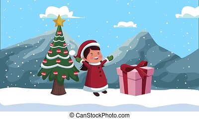 happy merry christmas animation with girl and gift