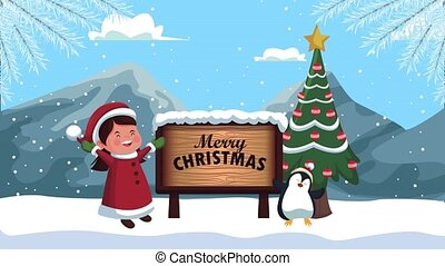 happy merry christmas animation with girl and penguin
