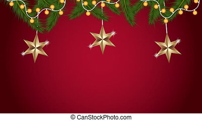happy merry christmas animation with golden stars hanging